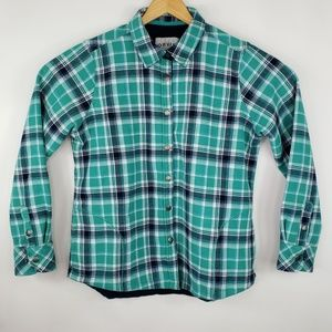 Orvis Heavy Green Blue Snap Flannel Shirt / Jacket